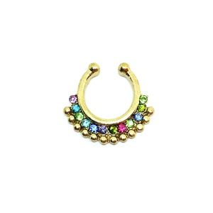 *SALE*  Faux Septum Ring in Gold tone + Jewels
